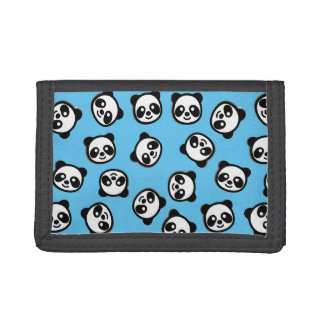 Black and White Panda Cartoon Pattern Trifold Wallet