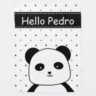 Black and White Panda Monochrome baby boy's Receiving Blanket