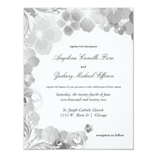 Black And White Pansies And Swirls Formal Wedding Card