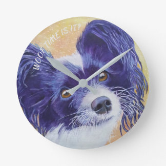 BLACK AND WHITE PAPILLON ROUND CLOCK