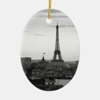 Black and White Paris Ceramic Ornament