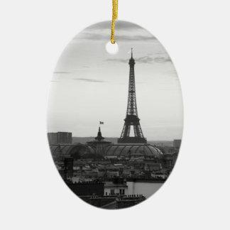Black and White Paris Ceramic Oval Decoration