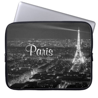 Black and White Paris Text Laptop Sleeve