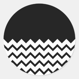 Black and White. Part Zig Zag, Part Plain Black. Round Sticker