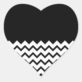 Black and White. Part Zig Zag, Part Plain Black. Heart Sticker