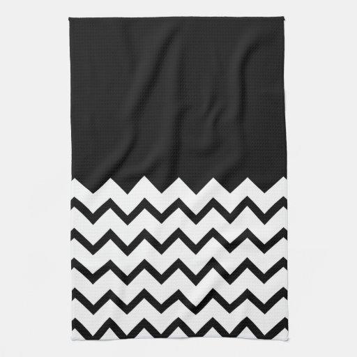 Black and White. Part Zig Zag, Part Plain Black. Hand Towels
