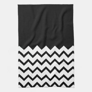 Black and White. Part Zig Zag, Part Plain Black. Towels