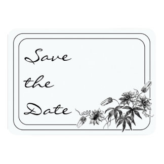 Black and White Passion Flowers Save the Date Invitations
