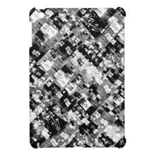 Black and White Patchwork Pattern iPad Mini Case