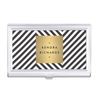Black and White Pattern Gold Name Biz Card Holder