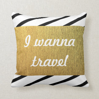 Black and white pattern Golden Travel Cushion