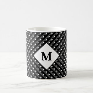Black and White pattern Monogram Basic White Mug