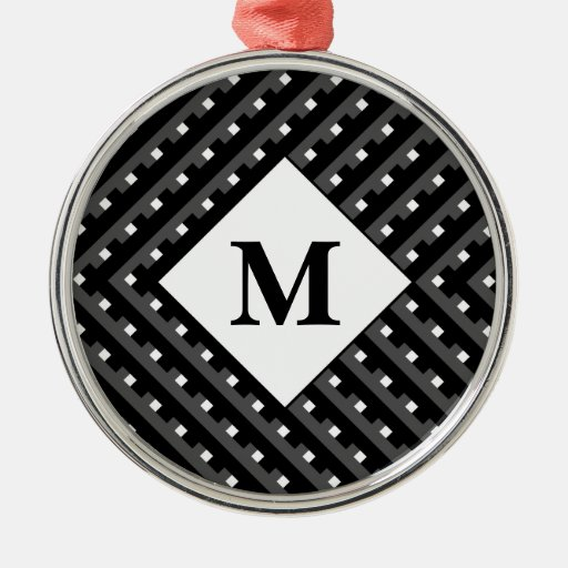 Black and White pattern Monogram Christmas Tree Ornament