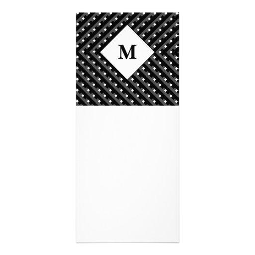 Black and White pattern Monogram Custom Rack Card