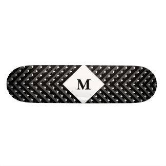 Black and White pattern Monogram Skateboard