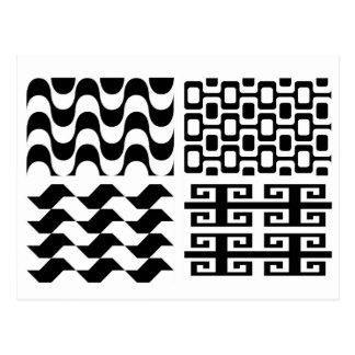 Black and white pattern postcard