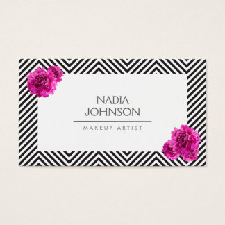 Black and White Pattern with Pink Flowers Beauty Business Card