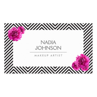 Black and White Pattern with Pink Flowers Beauty Business Cards