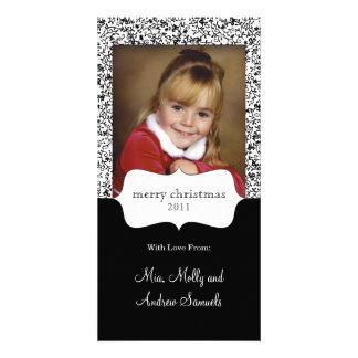 black and white patterned photo card