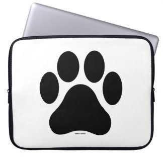 Black and White Paw Print Computer Laptop Sleeve
