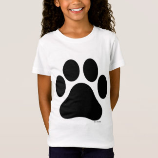 Black and White Paw Print Girl's T-Shirt