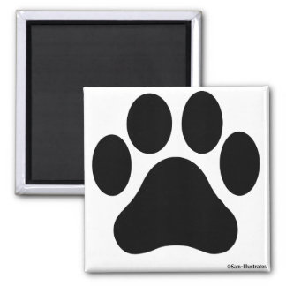 Black and White Paw Print Magnet