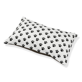Black And White Paw Print Pattern Dog Bed