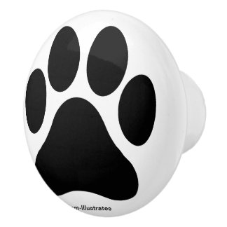 Black and White Paw Print Pattern Doorknob Ceramic Knob