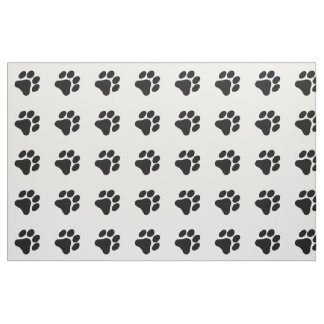 Black and White Paw Print Pattern Fabric