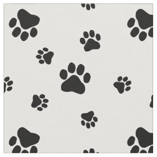 Black and White Paw Print Pattern Fabric v2