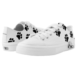 Black and White Paw Print Pattern Shoes