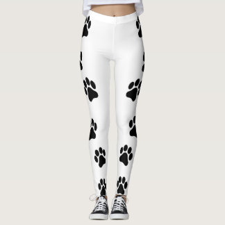 Black and White Paw Print Pattern Women's Leggings