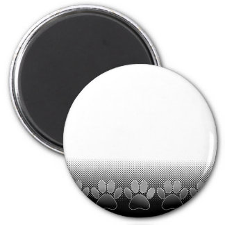 Black And White Paws Gradient Background Magnet