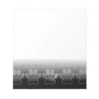 Black And White Paws Gradient Background Notepad
