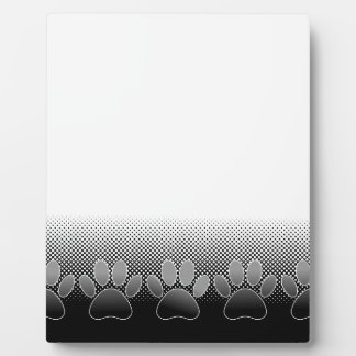 Black And White Paws Gradient Background Plaque