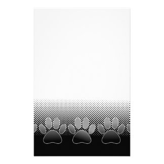 Black And White Paws Gradient Background Stationery