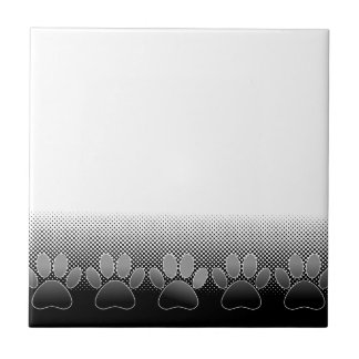 Black And White Paws Gradient Background Tile