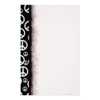 Black and White Peace Signs Customised Stationery
