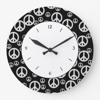 Black and White Peace Signs Large Clock