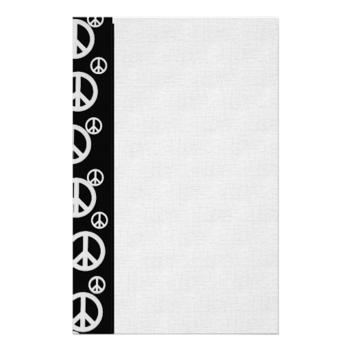 Black and White Peace Signs Stationery