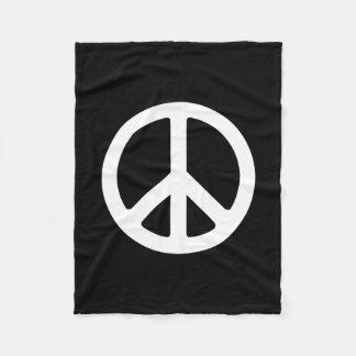 Black and White Peace Symbol Fleece Blanket