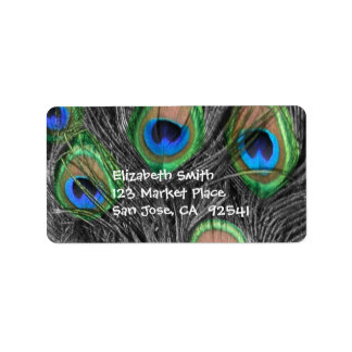 Black and White Peacock Feather Adress Label Address Label
