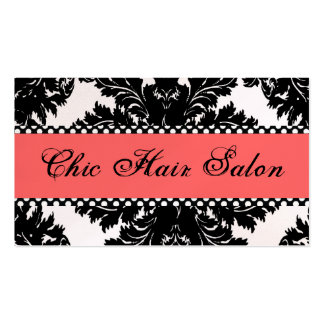 Black and White Pearl  Peach Damask Business Cards
