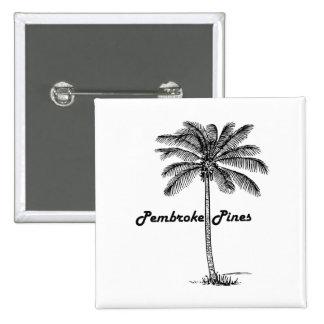 Black and White Pembroke Pines & Palm design 15 Cm Square Badge