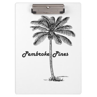 Black and White Pembroke Pines & Palm design Clipboards