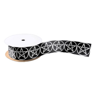 Black and White Pentacle Ribbon for your Craft Satin Ribbon
