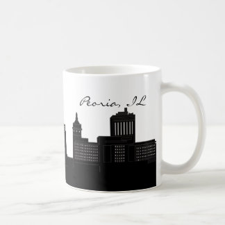 Black and White Peoria, Illinois Skyline Coffee Mug