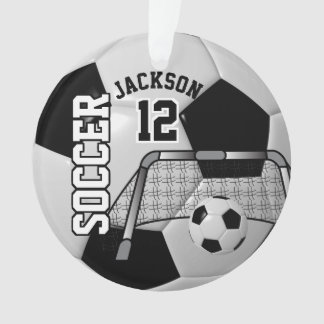 Black and White Personalize Soccer Ball Ornament