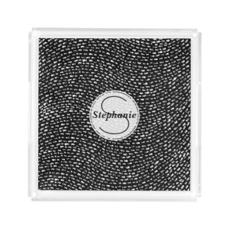Black and White Personalized Chalk Line Pattern Acrylic Tray