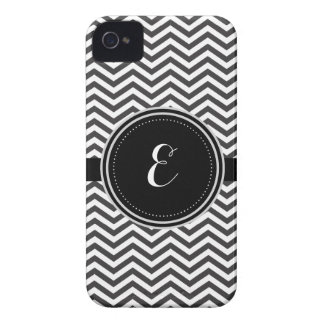 Black and White Personalized Cheveron Pattern iPhone 4 Case-Mate Case